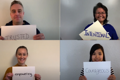Pictures of four staff members each holding up a sign with a word that describes our CEO. Trusted. Empowering. Courageous. Intentional.